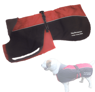 red and black dog coat